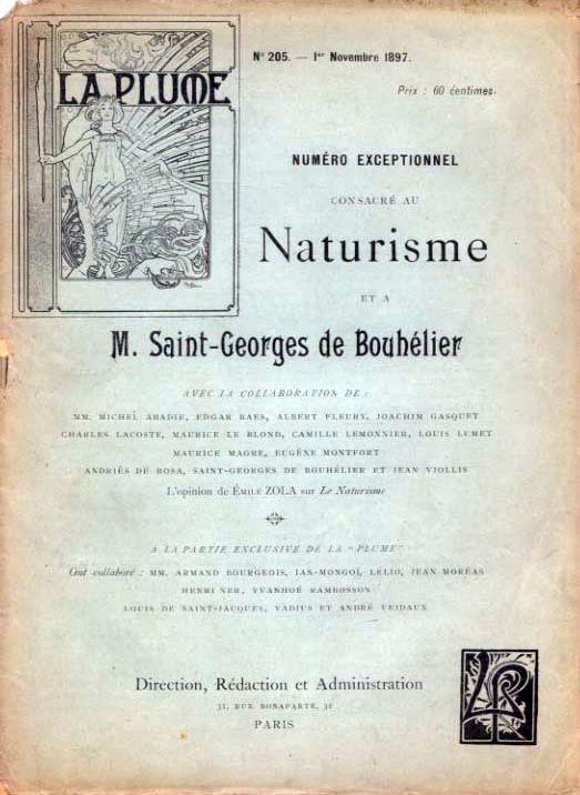 : Couverture. Numéroexceptionnel de LaPlume consacré au Naturisme ...